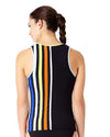 STRIPE OUT ZIP FRONT HIGH NECK TANKINI TOP ANNE COLE 18LT21385-MULT