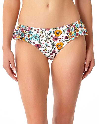 LAZY DAISY WHITE SIDE FLOUNCE BIKINI BOTTOM ANNE COLE 18MB31160-WHT