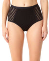 CROCHET ALL DAY BLACK CROCHET HIGH WAIST BIKINI BOTTOM ANNE COLE 18MB31503-BLK