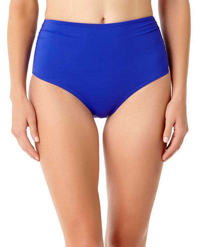 LIVE IN COLOR BLUEBERRY MUFFIN CONVERTIBLE SHIRRED HIGH RISE BIKINI BOTTOM ANNE COLE 18MB36001-BLBE