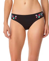 WILD FLOWER FLORAL EMBROIDERY BIKINI BOTTOM ANNE COLE 18MB36505-BLK