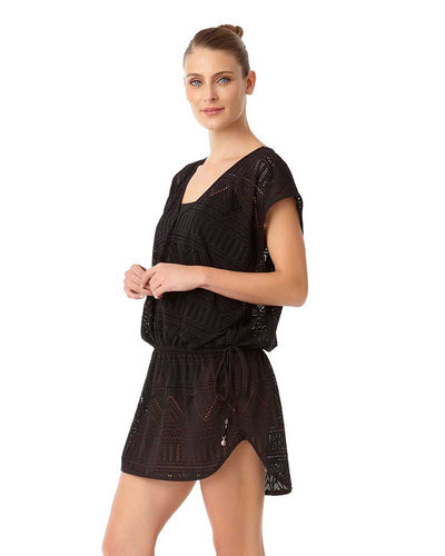 CROCHET ALL DAY BLACK CROCHET TUNNEL TIE TUNIC ANNE COLE 18MC51403-BLK