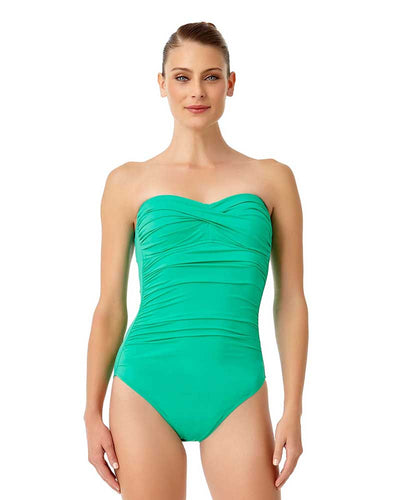 LIVE IN COLOR ACE OF JADES TWIST FRONT SHIRRED BANDEAU ONE PIECE ANNE COLE 18MO00501-JAD
