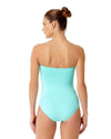 LIVE IN COLOR TURQS AND CAICOS TWIST FRONT SHIRRED BANDEAU ONE PIECE ANNE COLE 18MO00501-TURQ