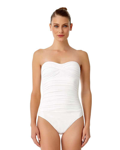 LIVE IN COLOR WHITE TWIST FRONT SHIRRED BANDEAU ONE PIECE ANNE COLE 18MO00501-WHT