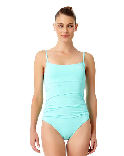 LIVE IN COLOR TURQS AND CAICOS SHIRRED LINGERIE MAILLOT ANNE COLE 18MO05701-TURQ