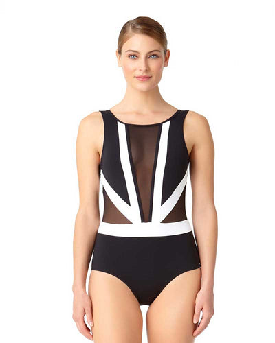 HOT MESH COLORBLOCK MESH PLUNGE ONE PIECE ANNE COLE 18MO07904-BKWH