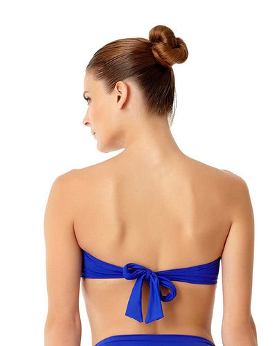 LIVE IN COLOR BLUE TWIST FRONT BANDEAU BRA TOP ANNE COLE 18MT10101-BLCO