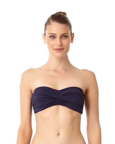LIVE IN COLOR NEW NAVY TWIST FRONT BANDEAU BRA TOP ANNE COLE 18MT10101-NAVY