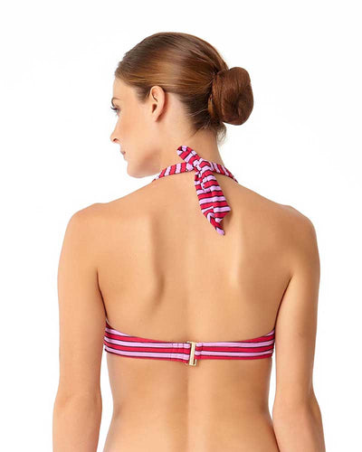 STRIPE RIGHT HIGH NECK HALTER BIKINI TOP ANNE COLE 18MT11002-PKCB