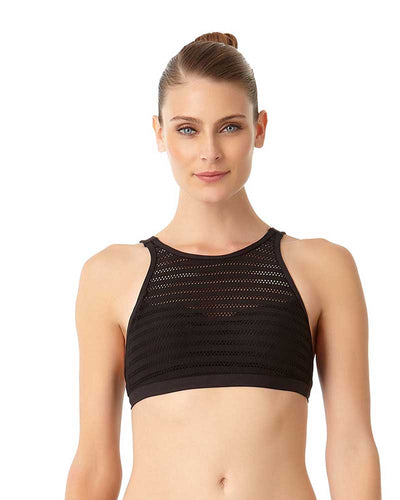 CROCHET ALL DAY BLACK CROCHET HIGH NECK BIKINI TOP ANNE COLE 18MT12703-BLK