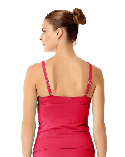 LIVE IN COLOR BERRIED TREASURES TWIST FRONT SHIRRED UNDERWIRE TANKINI TOP ANNE COLE 18MT20101-BERY