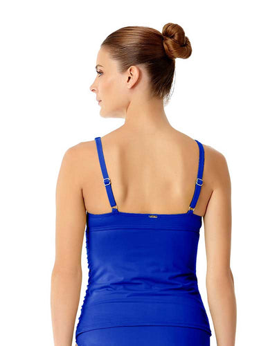 LIVE IN COLOR BLUEBERRY MUFFIN TWIST FRONT SHIRRED UNDERWIRE TANKINI TOP ANNE COLE 18MT20101-BLBE