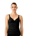 LIVE IN COLOR BLACK NOIRE TWIST FRONT SHIRRED UNDERWIRE TANKINI TOP ANNE COLE 18MT20101-BLK