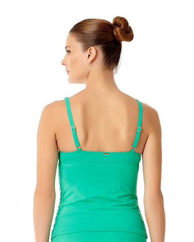 LIVE IN COLOR ACE OF JADES TWIST FRONT SHIRRED UNDERWIRE TANKINI TOP ANNE COLE 18MT20101-JAD