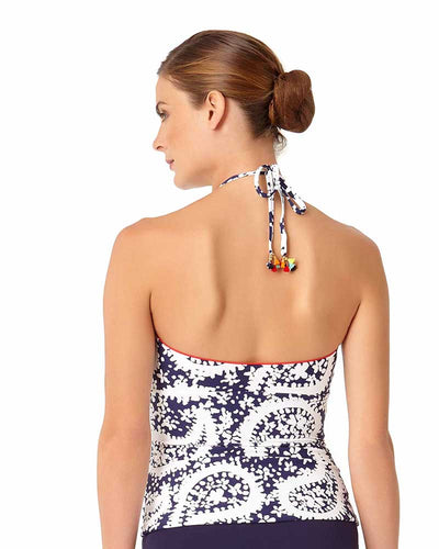 PATTIE PAISLEY KEYHOLE HIGH NECK SHIRRED TANKINI TOP ANNE COLE 18MT22758-NAWH