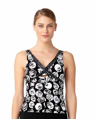 COMING UP ROSES SHIRRED TANKINI TOP ANNE COLE 18MT22954-MULT