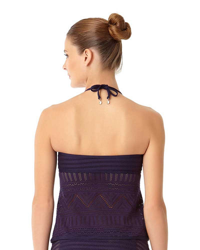 CROCHET ALL DAY NAVY CROCHET HIGH NECK TANKINI TOP ANNE COLE 18MT23403-NAVY