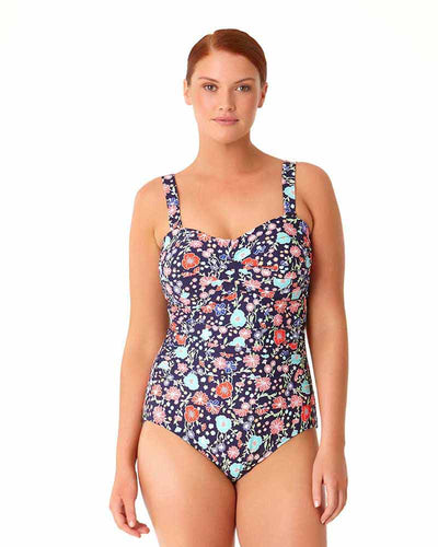 LAZY DAISY NAVY TWIST FRONT SHIRRED BANDEAU ONE PIECE ANNE COLE 18PO00560-NAVY
