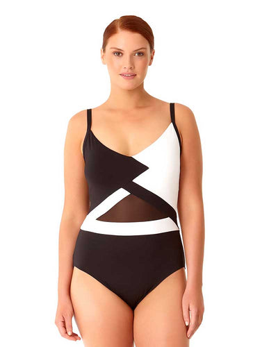 HOT MESH COLORBLOCK MESH ONE PIECE ANNE COLE 18PO07804-BKWH