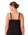 LIVE IN COLOR BLACK NOIRE TWIST FRONT SHIRRED UNDERWIRE TANKINI TOP ANNE COLE 18PT20101-BLK