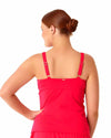 LIVE IN COLOR FIREBALL TWIST FRONT SHIRRED UNDERWIRE TANKINI TOP ANNE COLE 18PT20101-RED