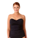 LIVE IN COLOR BLACK NOIRE TWIST FRONT BANDEAU-KINI TOP ANNE COLE 18PT25001-BLK