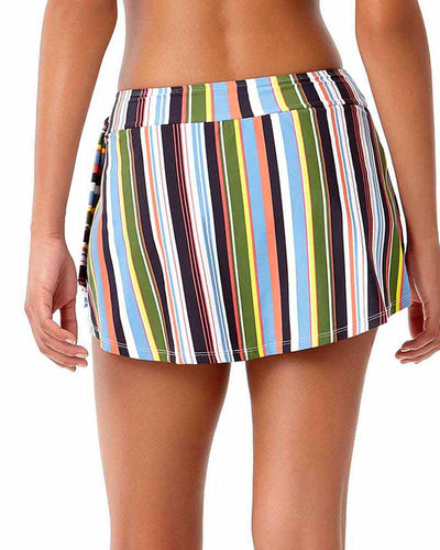 COMIC STRIPE SASH SKIRTED BIKINI BOTTOM ANNE COLE 18SB40965-MULT