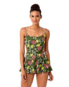 HAPPY STRAPPY GREEN STRAPPY SIDE SWIM DRESS ANNE COLE 18SD60463-GRPR