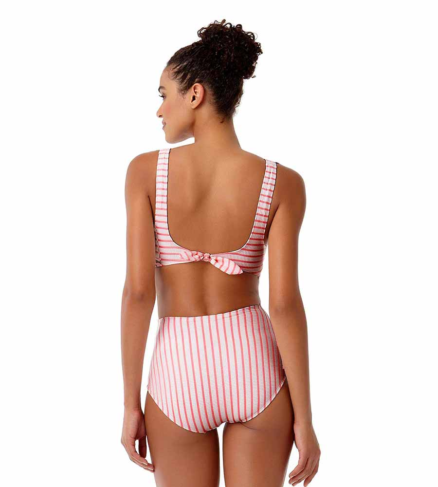 BEACH BUNNY CORAL STRIPE TIE BACK ONE PIECE BY ANNE COLE