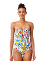 BRIGITTE FLORAL QUILTED STRAPLESS KEYHOLE ONE PIECE ANNE COLE 18SO02390-MULT