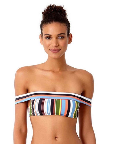 COMIC STRIPE OFF THE SHOULDER BIKINI TOP ANNE COLE 18ST12965-MULT