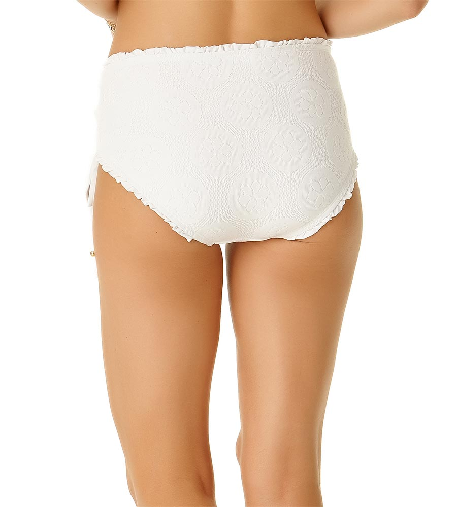 WHITE SAND DOLLAR LACE UP HIGH WAIST BOTTOM BY COLE OF CALIFORNIA