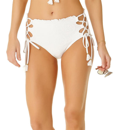 WHITE SAND DOLLAR LACE UP HIGH WAIST BOTTOM COLE OF CALIFORNIA 19CB30201-WHT