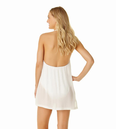WHITE HIGH NECK COVER UP DRESS COLE OF CALIFORNIA 19CC50201-WHT