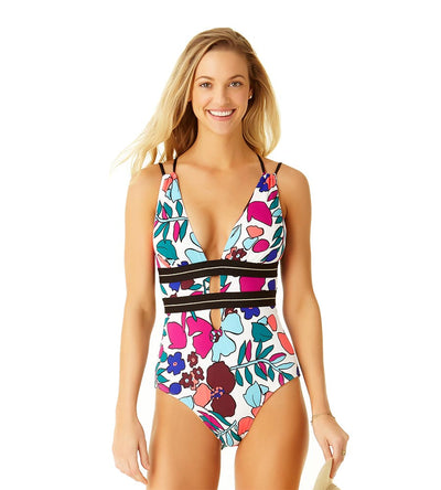 CALI FLORAL WHITE PLUNGE ONE PIECE COLE OF CALIFORNIA 19CO40013-WHML