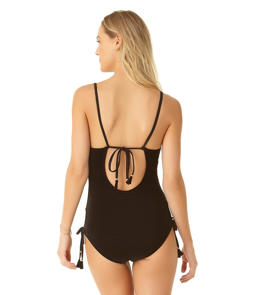 BLACK RIB SIDE TIE ONE PIECE BY COLE OF CALIFORNIA