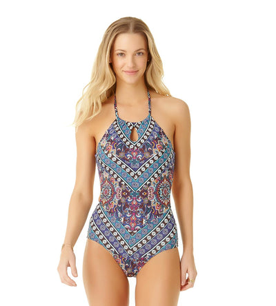 MEDALLION WRAP HIGH NECK ONE PIECE COLE OF CALIFORNIA 19CO40616-MULT