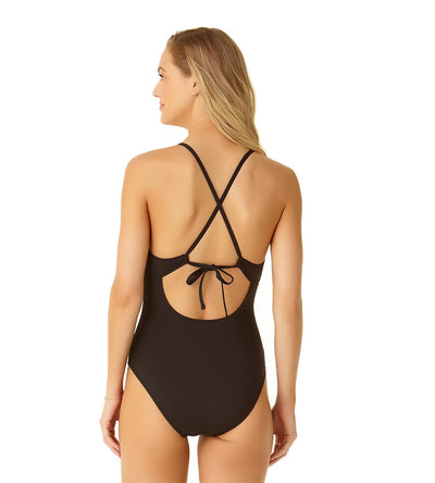 BLACK MESH MIX PLUNGE MAILLOT COLE OF CALIFORNIA 19CO40701-BLK