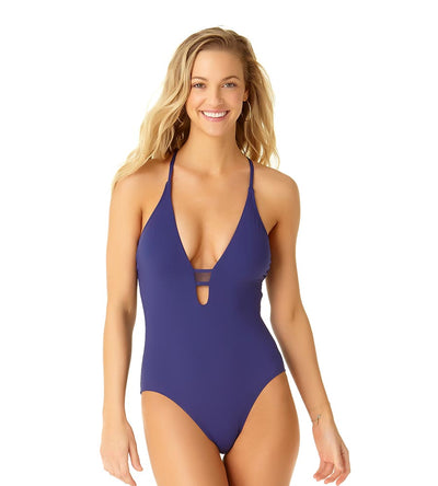 NAVY MESH MIX PLUNGE MAILLOT COLE OF CALIFORNIA 19CO40701-NAVY