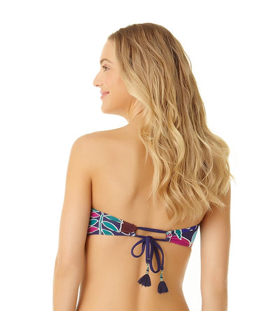 CALI FLORAL NAVY TAB FRONT BANDEAU TOP COLE OF CALIFORNIA 19CT10013-NVCO