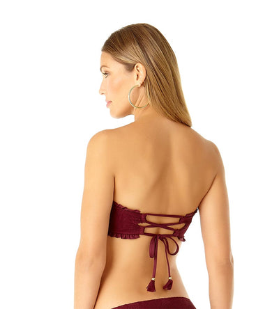 AUBERGINE SAND DOLLAR CROCHET LACE UP BANDEAU TOP COLE OF CALIFORNIA 19CT10401-AUB