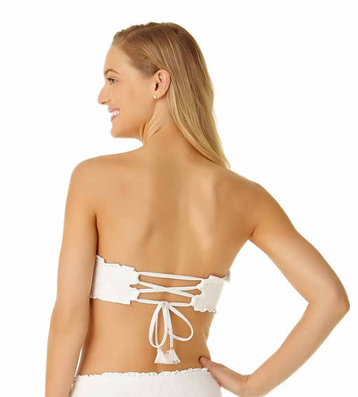 WHITE SAND DOLLAR CROCHET LACE UP BANDEAU TOP COLE OF CALIFORNIA 19CT10401-WHT