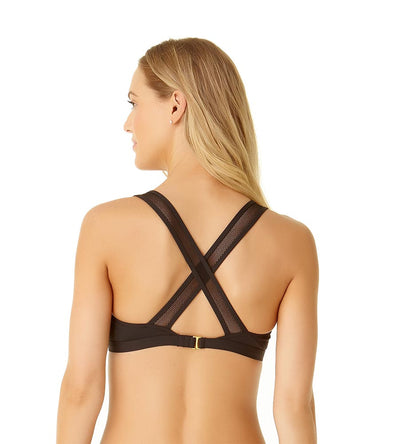 BLACK MESH MIX X-BACK BRALETTE TOP COLE OF CALIFORNIA 19CT11101-BLK