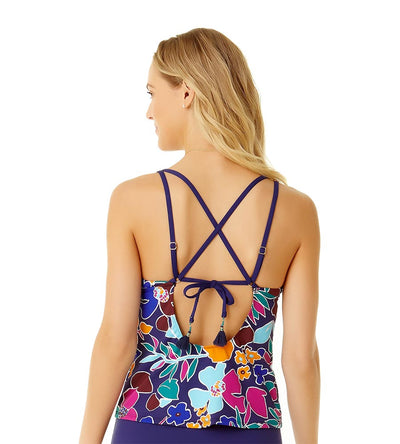 CALI FLORAL NAVY LACE UP HALTER TANKINI TOP COLE OF CALIFORNIA 19CT20013-NVCO