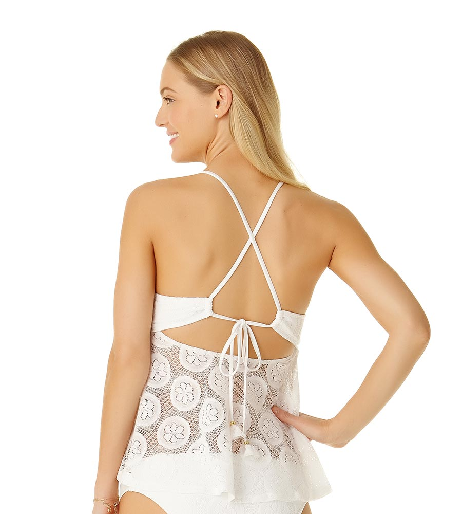 WHITE SAND DOLLAR CROCHET FLOUNCE TANKINI TOP BY COLE OF CALIFORNIA