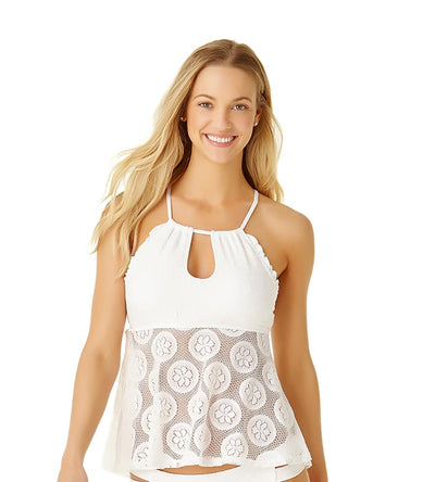 WHITE SAND DOLLAR CROCHET FLOUNCE TANKINI TOP COLE OF CALIFORNIA 19CT20201-WHT