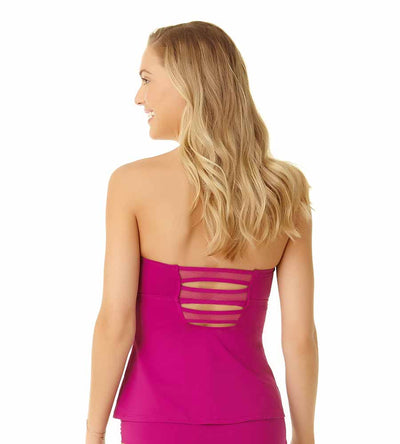 BERRY MESH MIX TWIST FRONT BANDEAU TANKINI TOP COLE OF CALIFORNIA 19CT20501-BERY