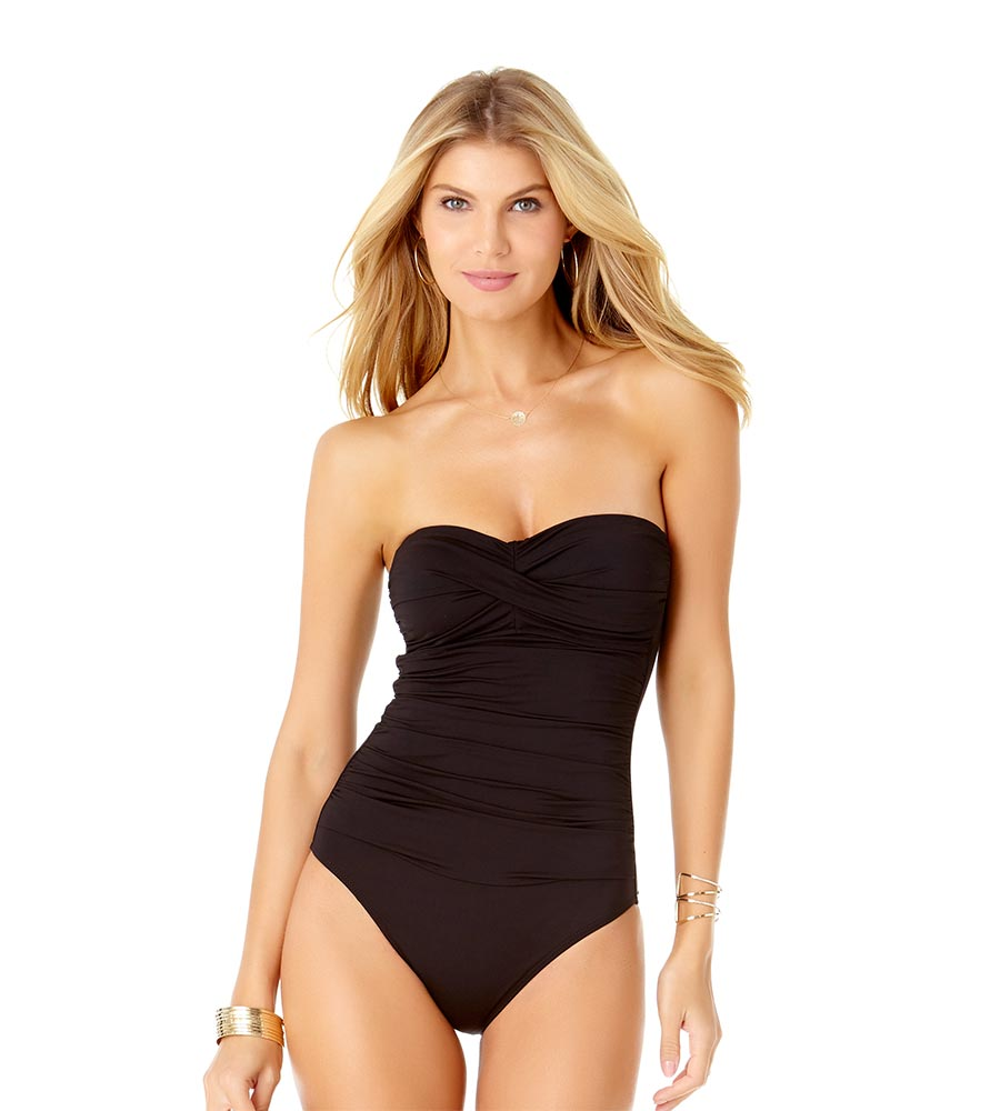 88bfea8aa89 BLACK TWIST FRONT BANDEAU ONE PIECE BY ANNE COLE - Kayokoko Swimwear USA