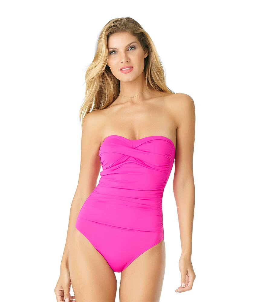 e5105fc7fb COSMO PINK TWIST FRONT BANDEAU ONE PIECE ANNE COLE 19MO00501-PINK